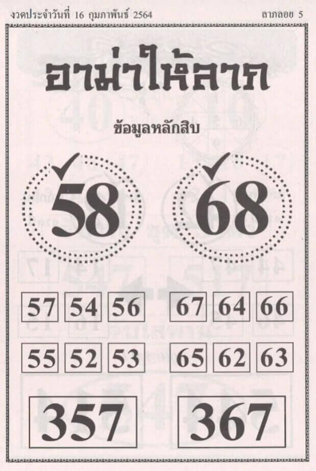 เลขเด็ด หวยอาม่าให้ลาภ งวด 16/02/64